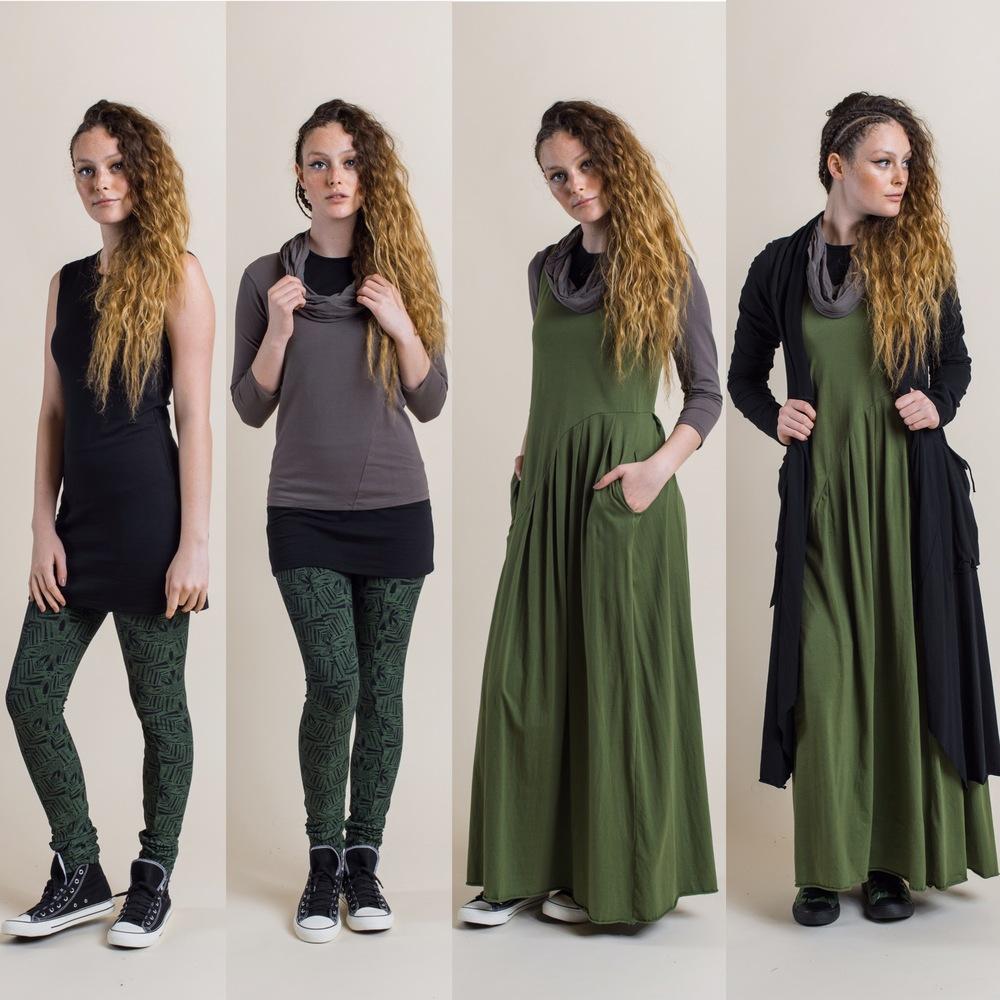 Fern Printed Legging in fern with Josie dress in black, add Robin Top in rock, then add Faith Maxi in fern, finally add Annabel Coat in black.