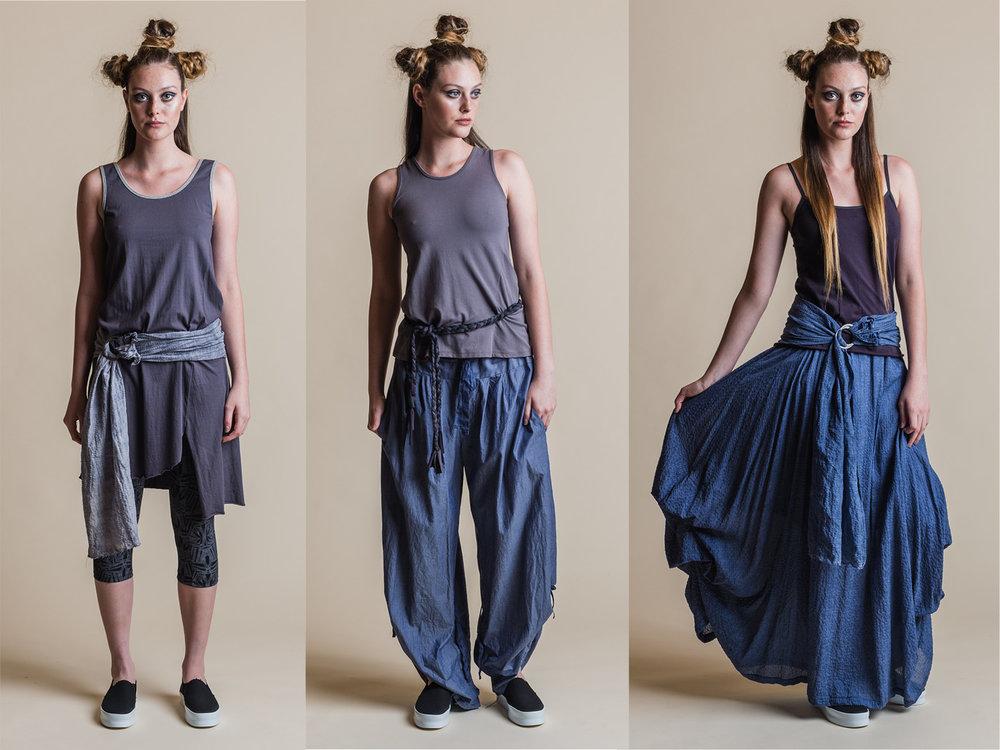 LEFT: BROOKE DRESS, FERN PRINT 3/4 LEGGING + YOKO SASH MIDDLE: TANSY TOP, ADA PANT + BRAID BELT RIGHT: NASTURTIUM TOP, WILLOW SKIRT + YOKO SASH