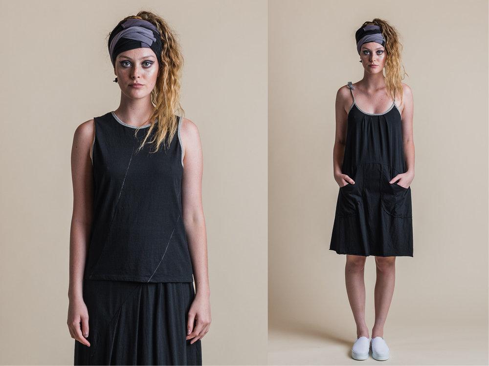 LEFT: PERLA TANK + FAITH SKIRT (ORGANIC SASH WORN AS HEAD WRAP) RIGHT: BRIANA DRESS