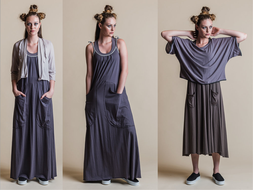 LEFT: ISADORA SINGLET, BRIANA MAXI DRESS + ESTER CARDI MIDDLE:ISADORA SINGLET + BRIANA MAXI DRESS RIGHT: DITA DRESS + PHOEBE TOP