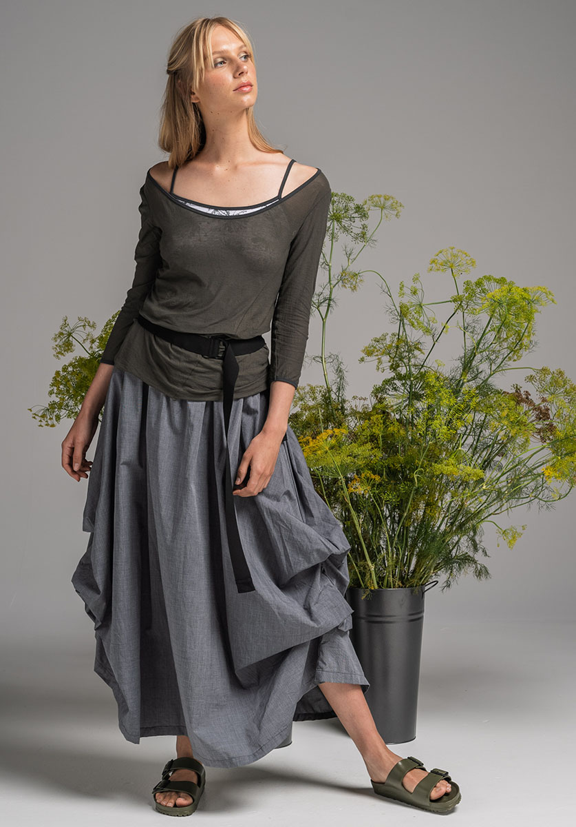 SWIVEL TOP OVER NASTURTIUM TOP WITH WILLOW SKIRT & ELASTIC BELT