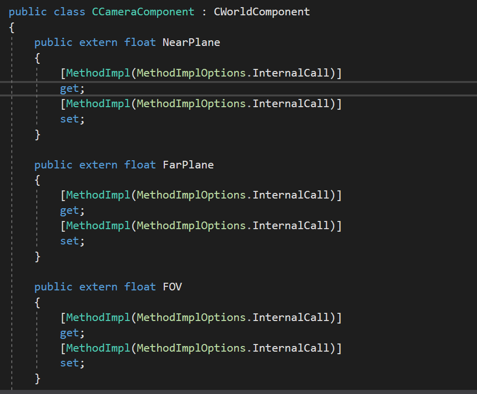The generated C# code used to access the member variables from script code.