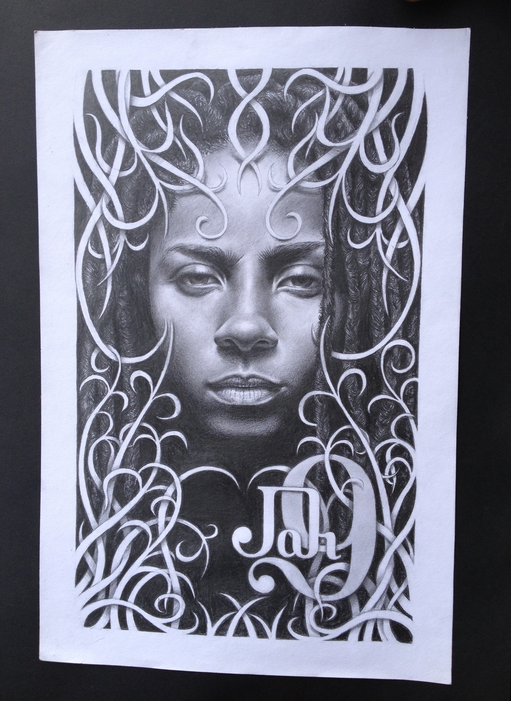 Artist: Djet Layne  Medium: Charcoal and Pencil on Paper
