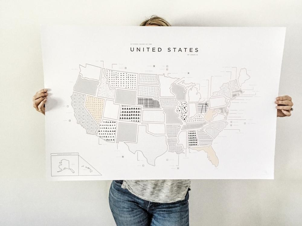 USA Map Print 42 Pressed