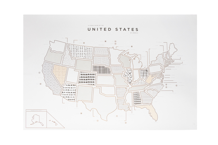 USA Map Print Pressed - Black and white usa map