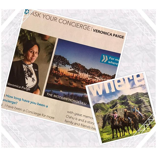 Aloha Friday!  Congratulations to our member, Veronica, of the Modern Hotel for being featured in #wheremagazine as this issue's expert!  #concierge #conciergehawaii #where #morrisvisitorpublications #hawaii #modernhotelhonolulu