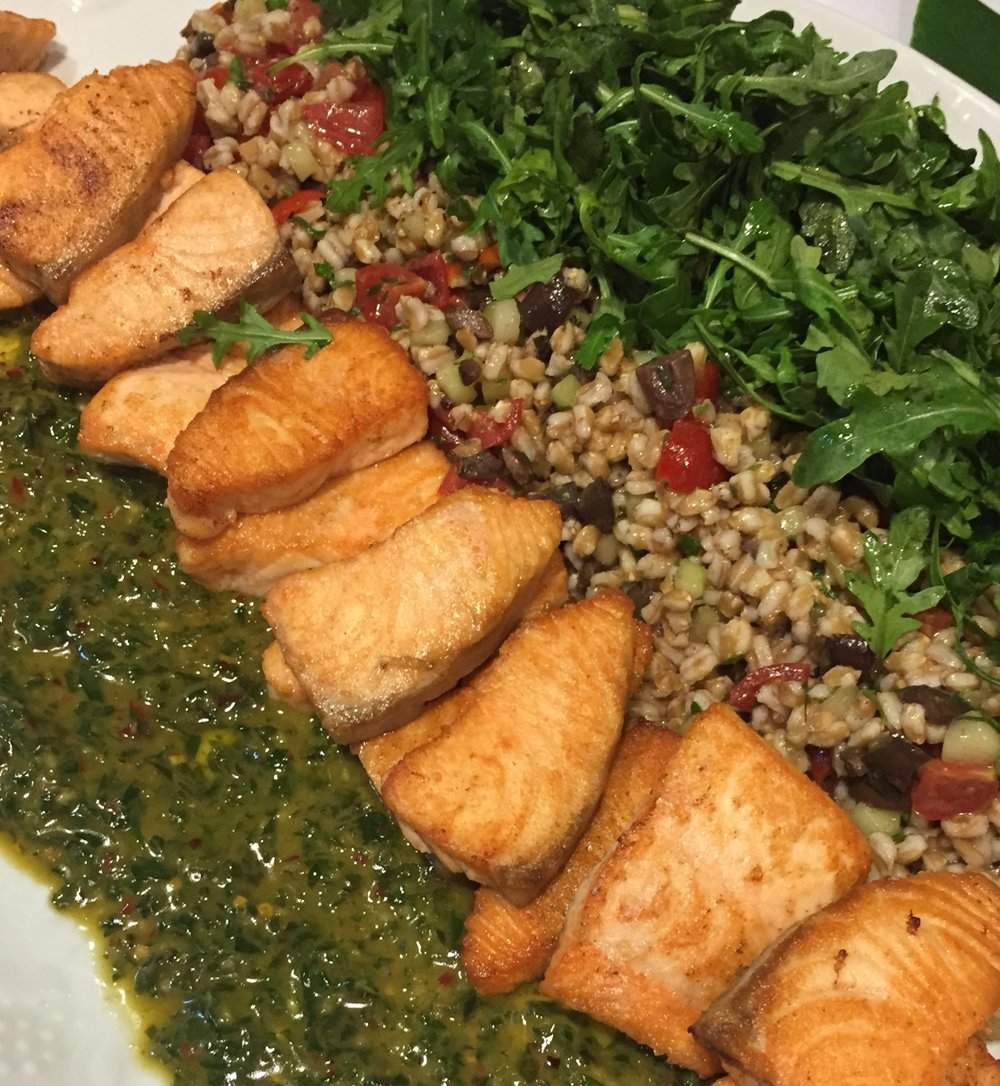 Salmon with Herb Chimichurri & Farro Salad