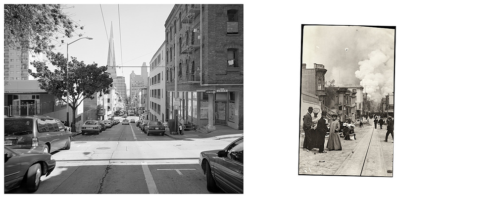 LEFT: Clay Street near old Chinatown, 2003  RIGHT: Untitled (burning San Francisco, looking east from Clay Street), 1906