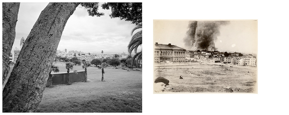 LEFT: Dolores Park, 2004   RIGHT: From the old Jewish Cemetery, 18th and Dolores Streets. The morning of the Great Earthquake and Fire, April 18th, 1906