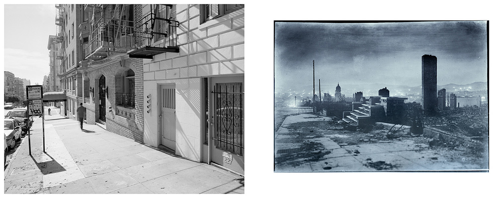 LEFT: Steps, 821 Leavenworth, 2003  RIGHT: Stairs that lead to nowhere (after the fire), 1906
