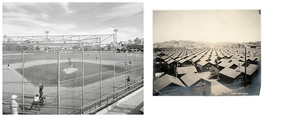 LEFT: Ball field, Moscone Recreation Center, 2004  RIGHT: Camp 8, Lobos Square, 1906