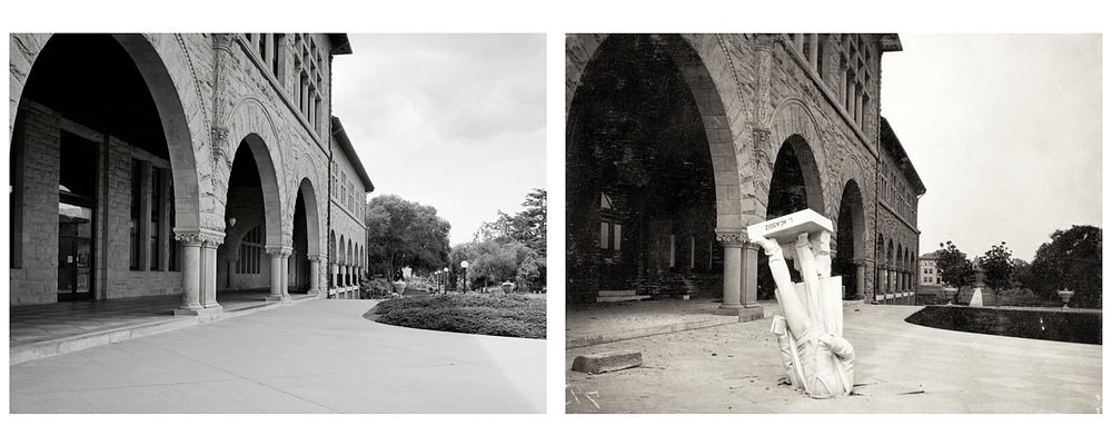 LEFT: Walkway, Stanford University, 2003  RIGHT: Agassiz Statue at Stanford University, 1906