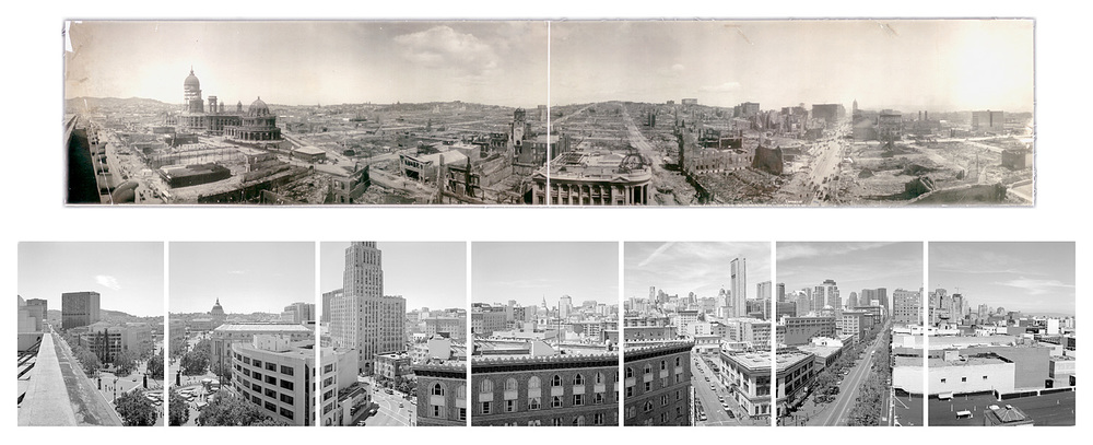 TOP: Panorama from above Market Street,   2003  BOTTOM: Untitled (Market Street ruins), 1906