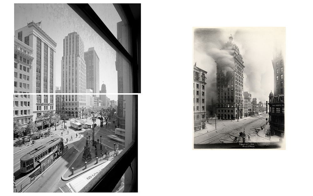 LEFT: The Call Building with Deco Façade, Market and Third Streets, 2003  RIGHT: Burning of the Call Building, 1906