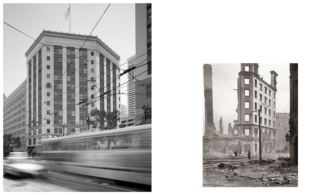 LEFT: Hearst Building, Market Street, 2003  RIGHT: Untitled (remains of Hearst Building at Market and Third Streets), 1906