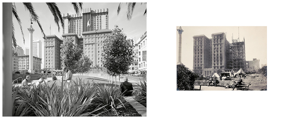 LEFT: Lunch time, Union Square and the St Francis Hotel, looking west, 2003    RIGHT: Untitled, 1906