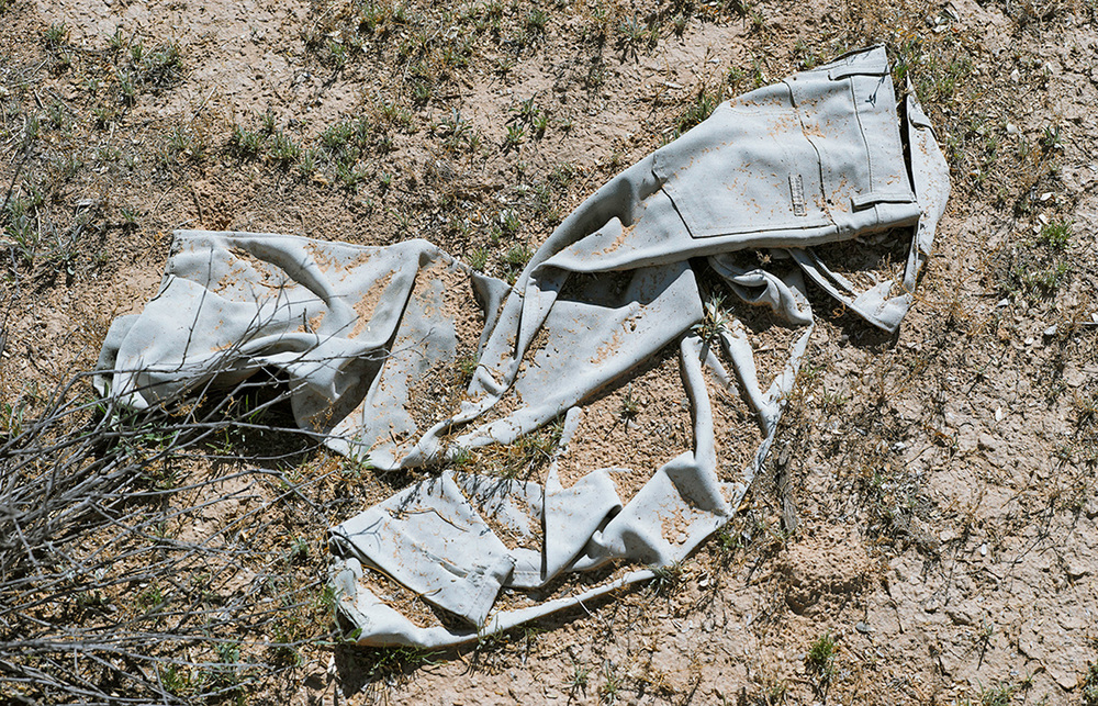 Pants found in dirt south of the Camino del Diablo, 2013