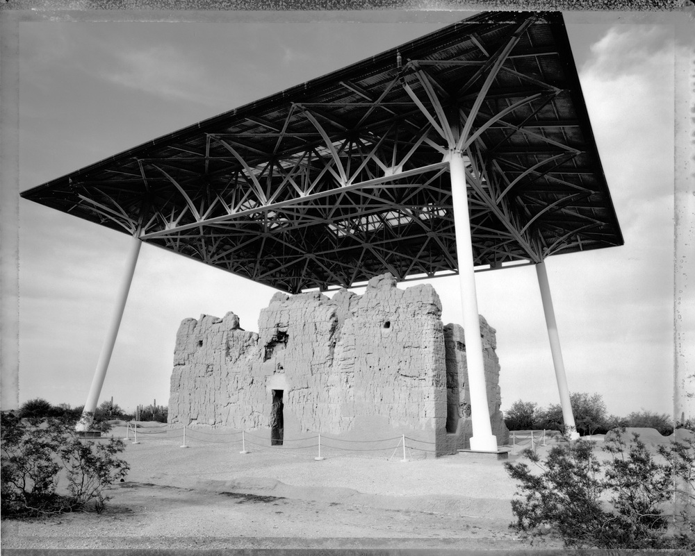 Casa Grande ruins with protective rain shelter, 1984