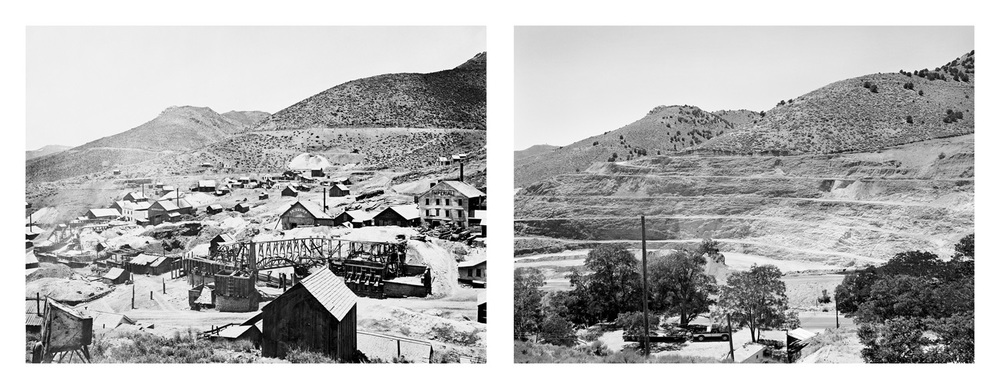 LEFT: Timothy O'Sullivan, Comstock Mines Virginia City, 1868 RIGHT: Mark Klett for the Rephotographic Survey Project, Strip mines Virginia City, NV, 1979