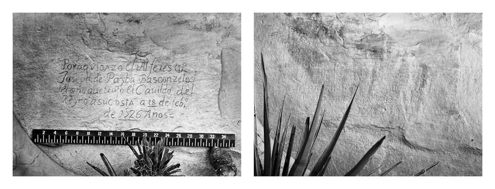LEFT: Timothy O'Sullivan, Historic Spanish record of the conquest, 1873  RIGHT: Mark Klett for the Rephotographic Survey Project, Spanish inscription, El Morro National Monument, NM, 1978