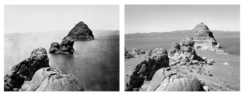 LEFT: Timothy O'Sullivan, Rock formations, Pyramid Lake, 1867 RIGHT: Mark Klett for the Rephotographic Survey Project, Pyramid Isle, Pyramid Lake, NV, 1979