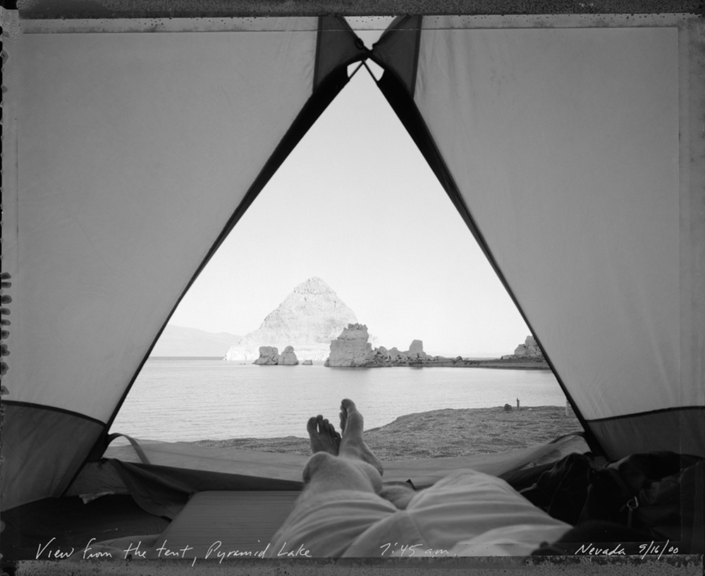 View from the tent, Pyramid Lake 7:15 am, Nevada, 2000