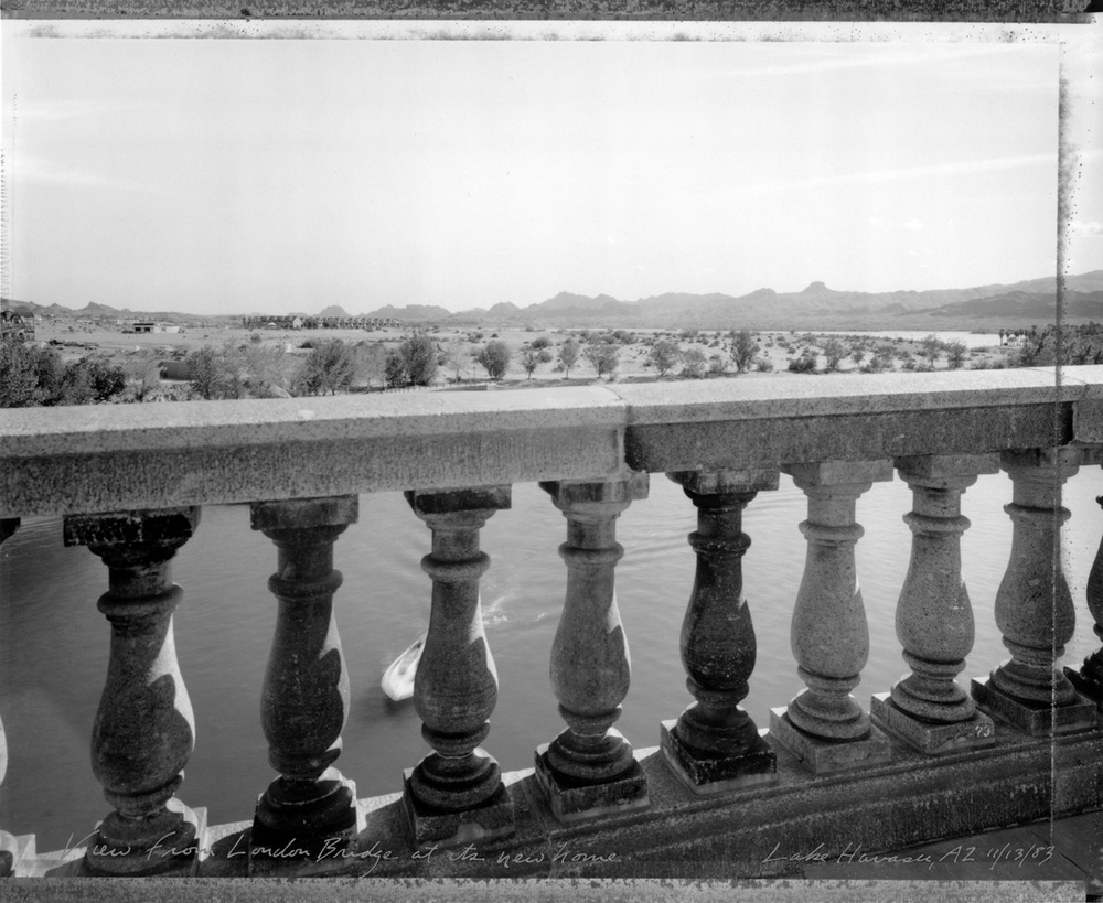 View from London Bridge at its new home, Lake Havasu, Arizona, 1983