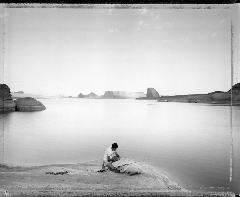 Michael changing lures to no avail, Lake Powell, 1984