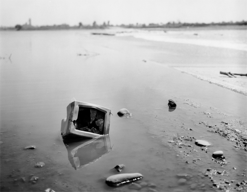Computer monitor washed down river by floodwaters Salt River, Mesa, AZ, 1993