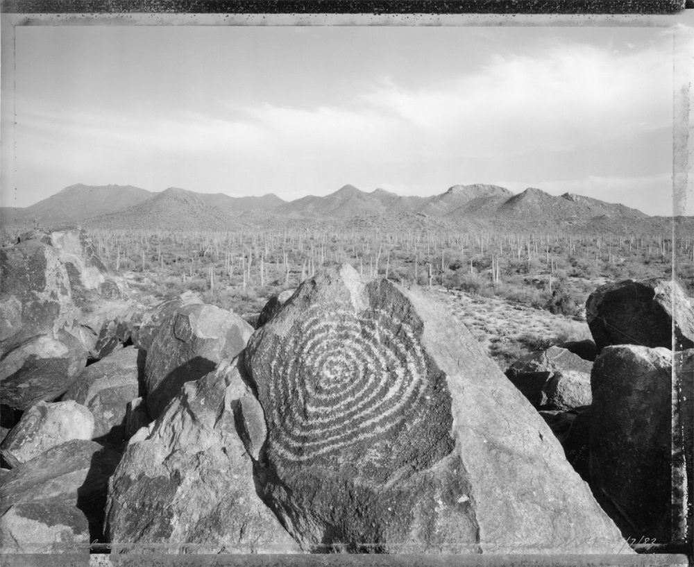 Spiral carving facing east, Saguaro National Monument, 1983