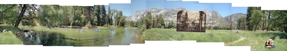 Panorama showing Carleton Watkin's camera position for Yosemite Falls and Merced River