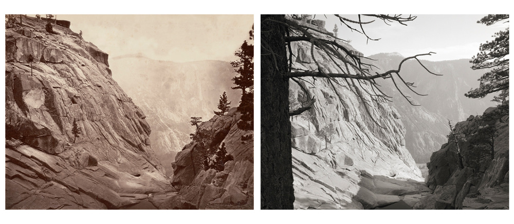 LEFT: Eadweard Muybridge, Yosemite Creek, Summit of Falls at low water, No. 44, 1872  RIGHT: Mark Klett and Byron Wolfe, Yosemite Creek at the summit of the falls, in the dry season, 2002