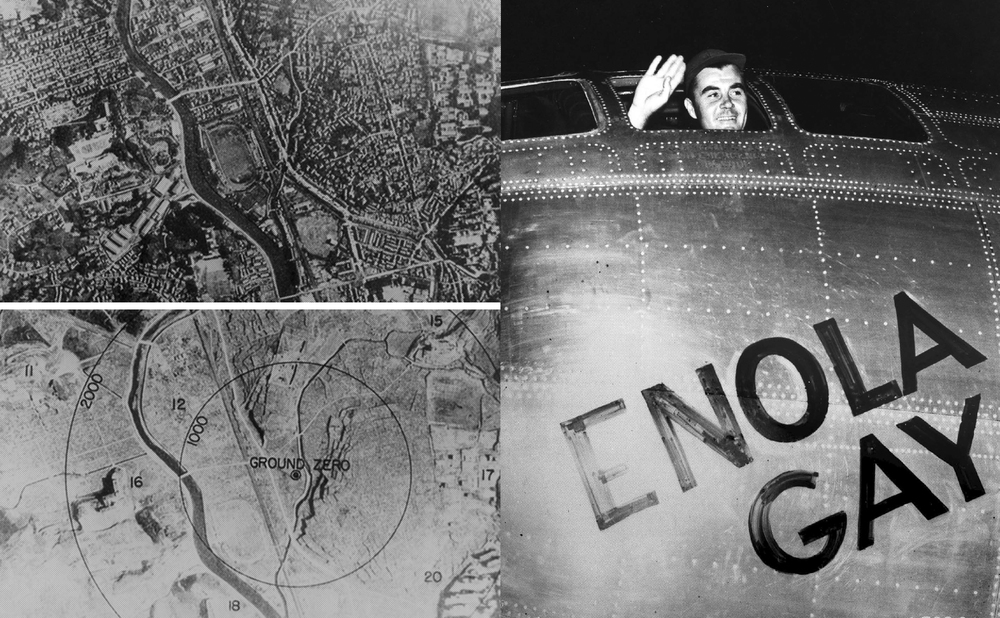 Pre bomb and post bomb views of Hiroshima; Paul Tibbets waves from the Enola Gay cockpit before takeoff August 6, 1945
