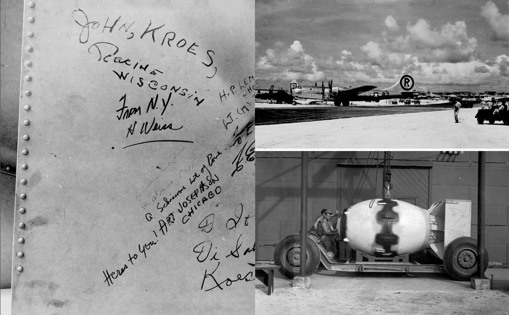 "Names on atomic bomb ""Fat Man;"" Enola Gay after dropping atomic bomb; Atomic bomb being prepared 1945"