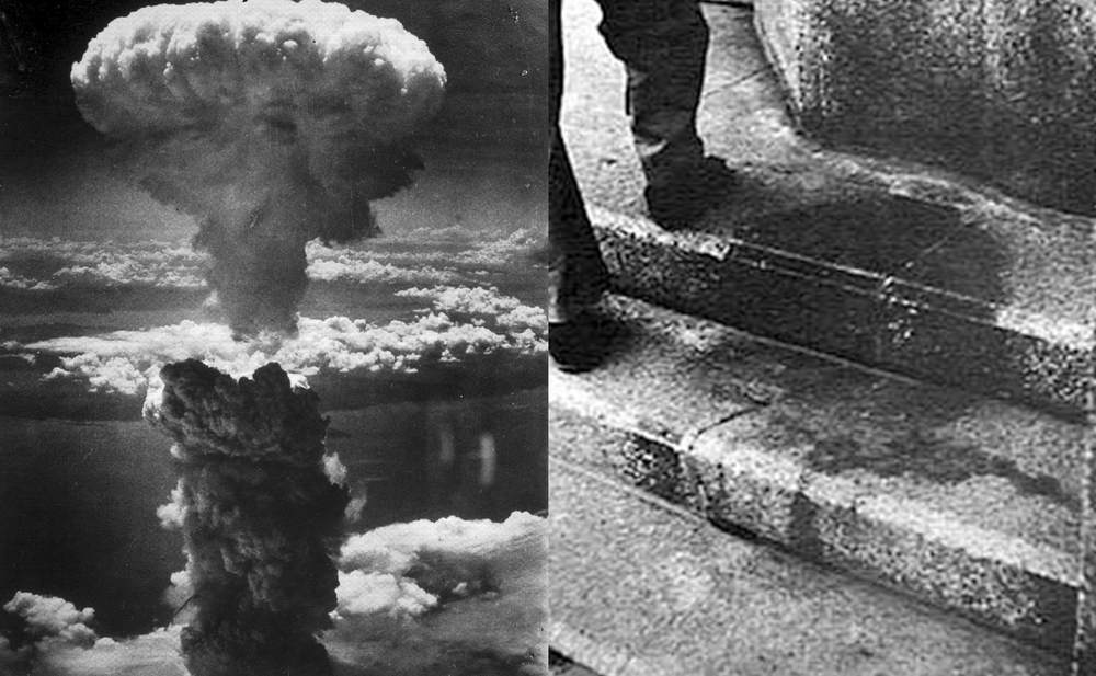 Atomic cloud over Nagasaki; Steps with shadow of vaporized person, Hiroshima