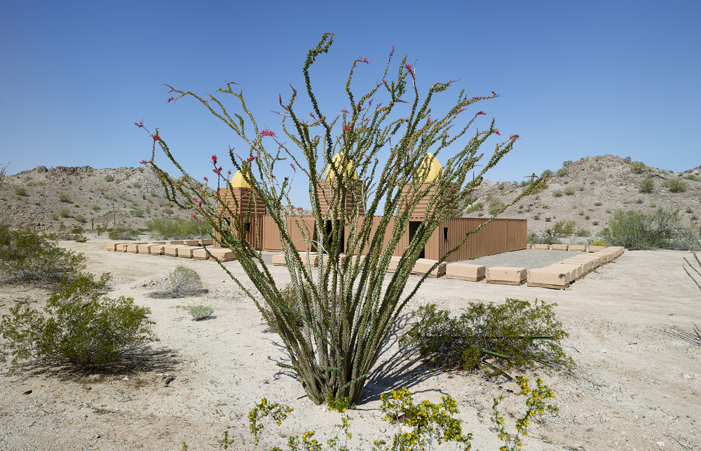 "Ocotillo and Mosque made from shipping containers, ""Combat Village,"" Marine Training Camp in the Copper Mountains, 2013"