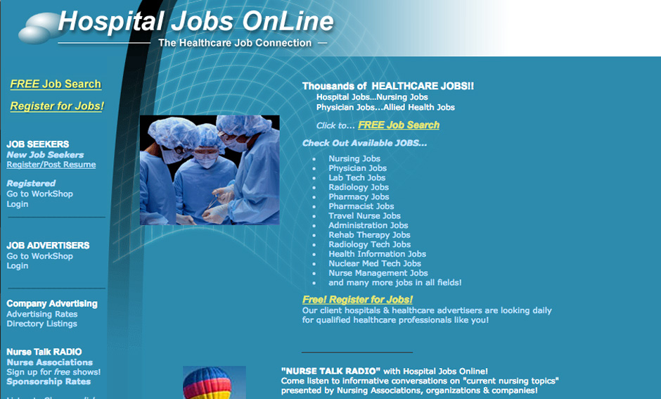 Screenshot of the healthcare job board HospitalJobsOnline.com