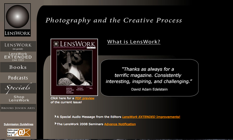Screenshot of the LensWork website.