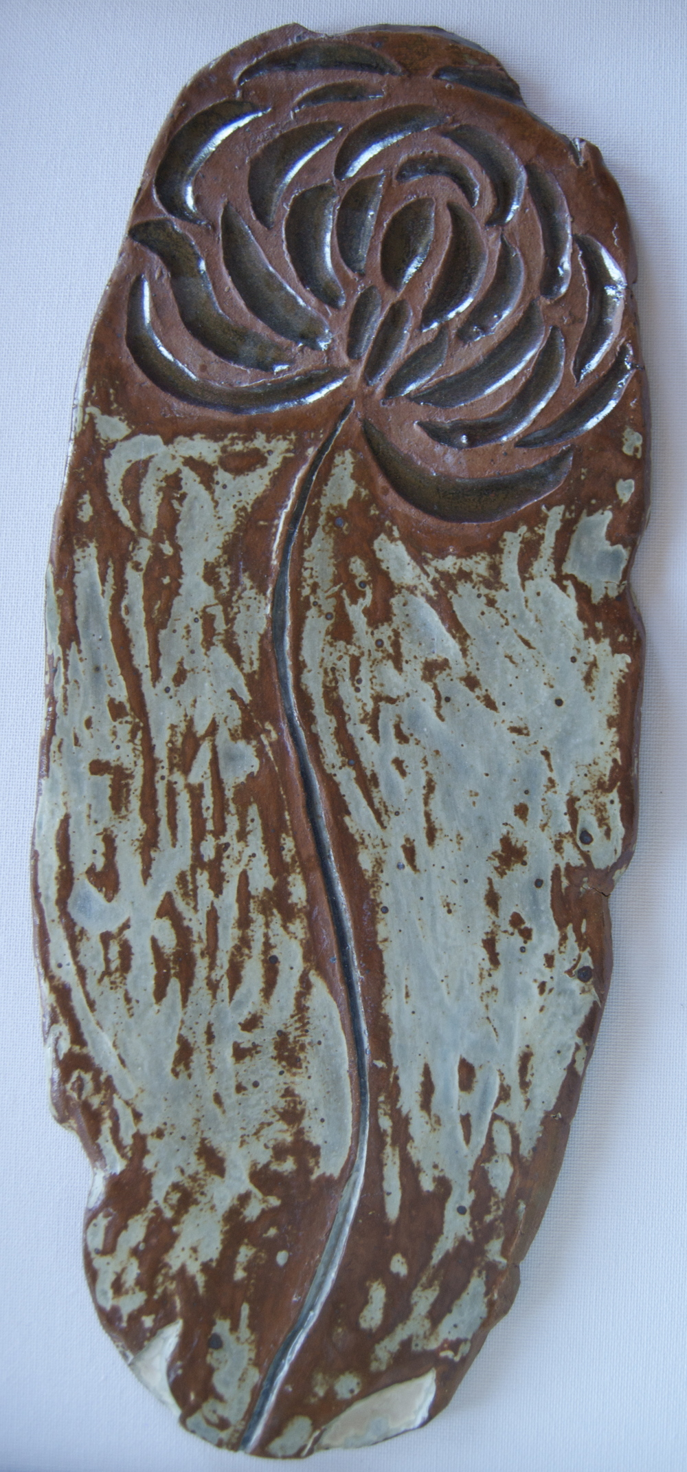 "Ceramic Wall Decor: ""Rusted Copper Flower"""