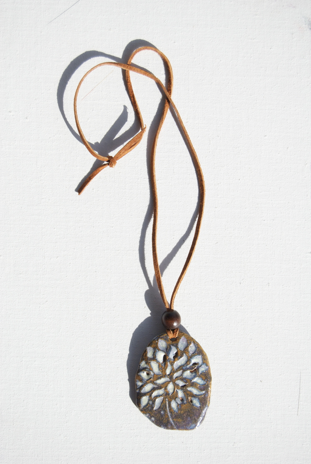 "Ceramic Flower Pendant Necklace: ""Purple Haze"""