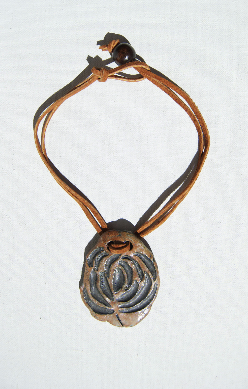 "Ceramic Pendant Choker: ""Black Rusted Flower"""