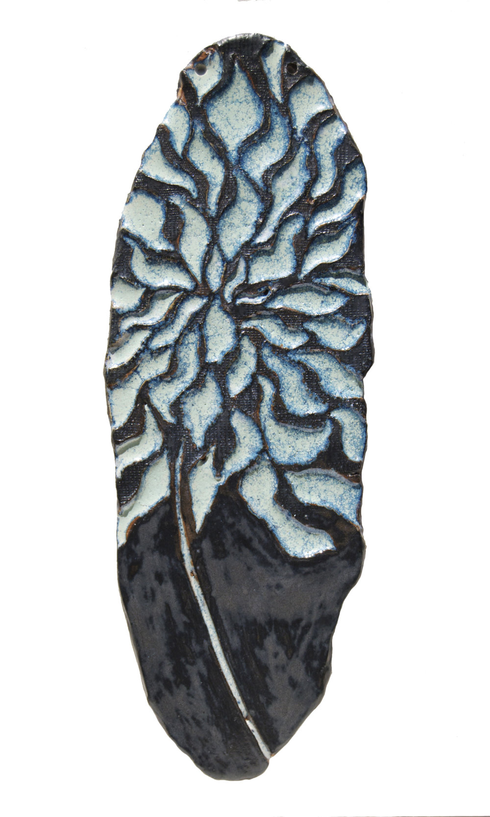 "Ceramic Wall Decor (""Speckle-Feathered Blue Flower"")"