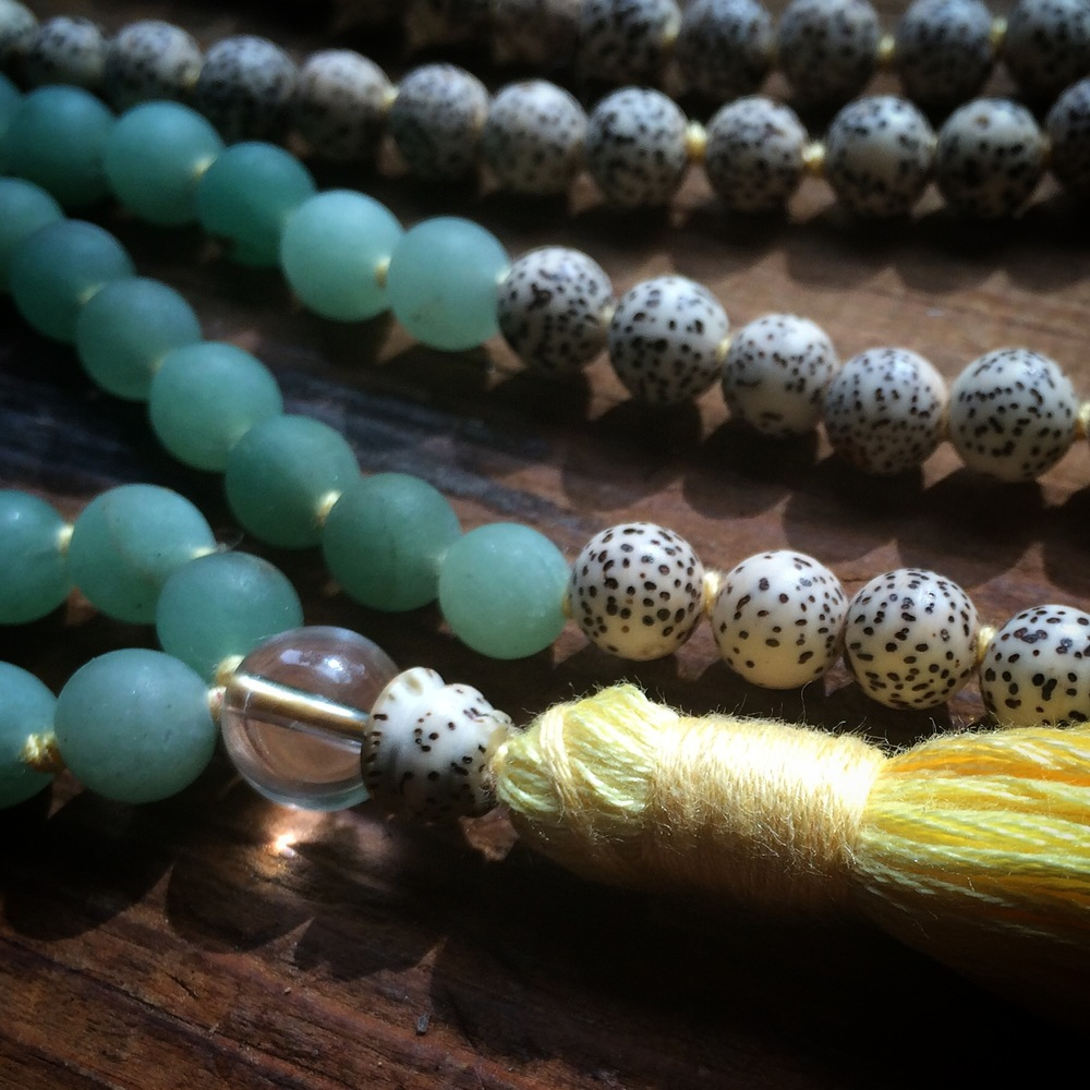 Aventurine and Lotus Mala with Quartz Guru Bead