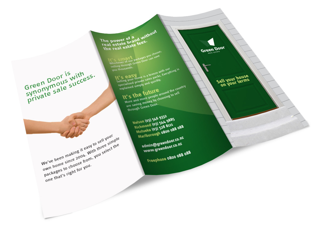 Trifold brochure for Green Door Real Estate