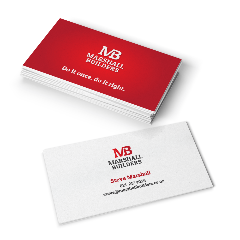 Business cards for Marshall Builders in Nelson - www.marshallbuilders.co.nz/