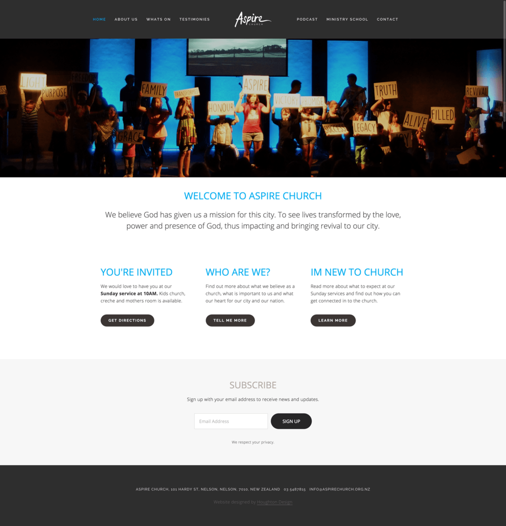 Squarespace website for Aspire Church, Nelson - www.aspirechurch.org.nz