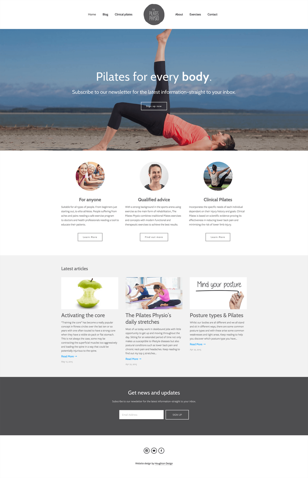 Squarespace website for The Pilates Physio - www.thepilatesphysio.com