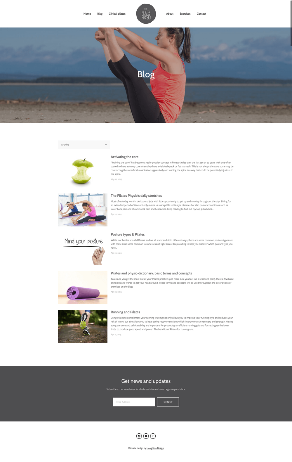 Blog page of Squarespace website for The Pilates Physio - www.thepilatesphysio.com