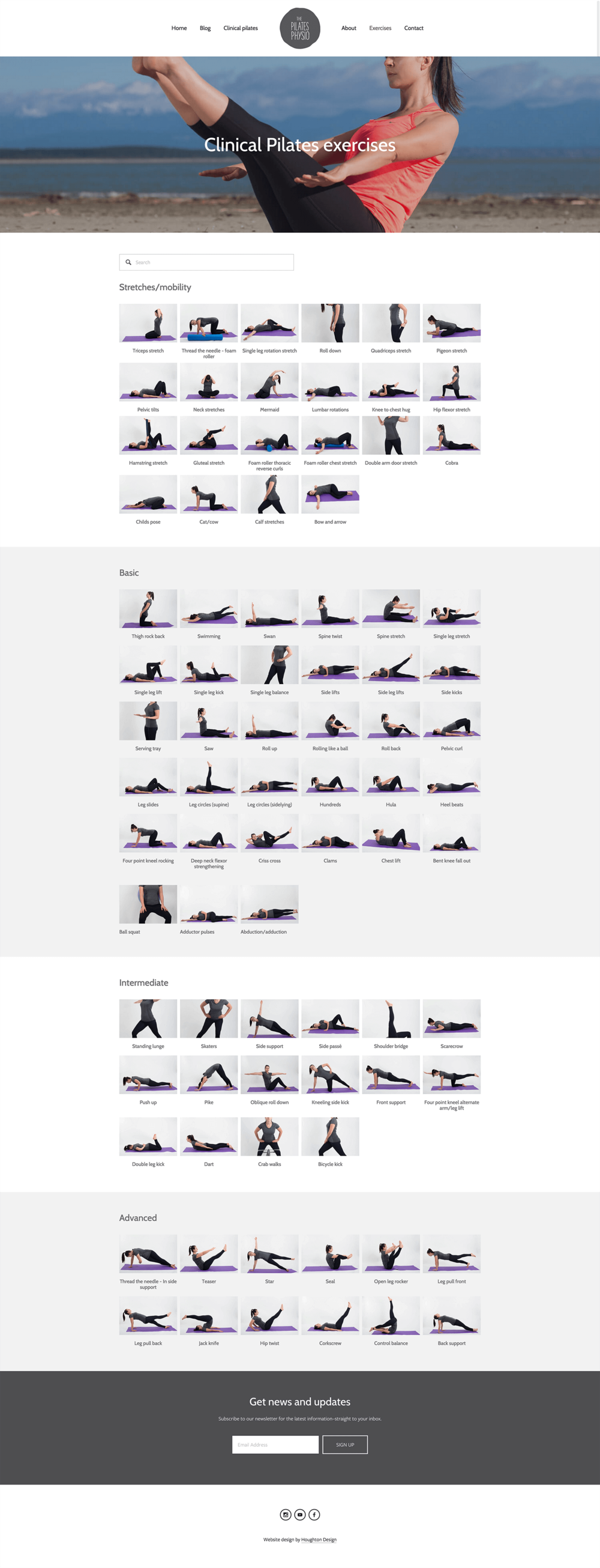 Exercise page on Squarespace website for The Pilates Physio - www.thepilatesphysio.com