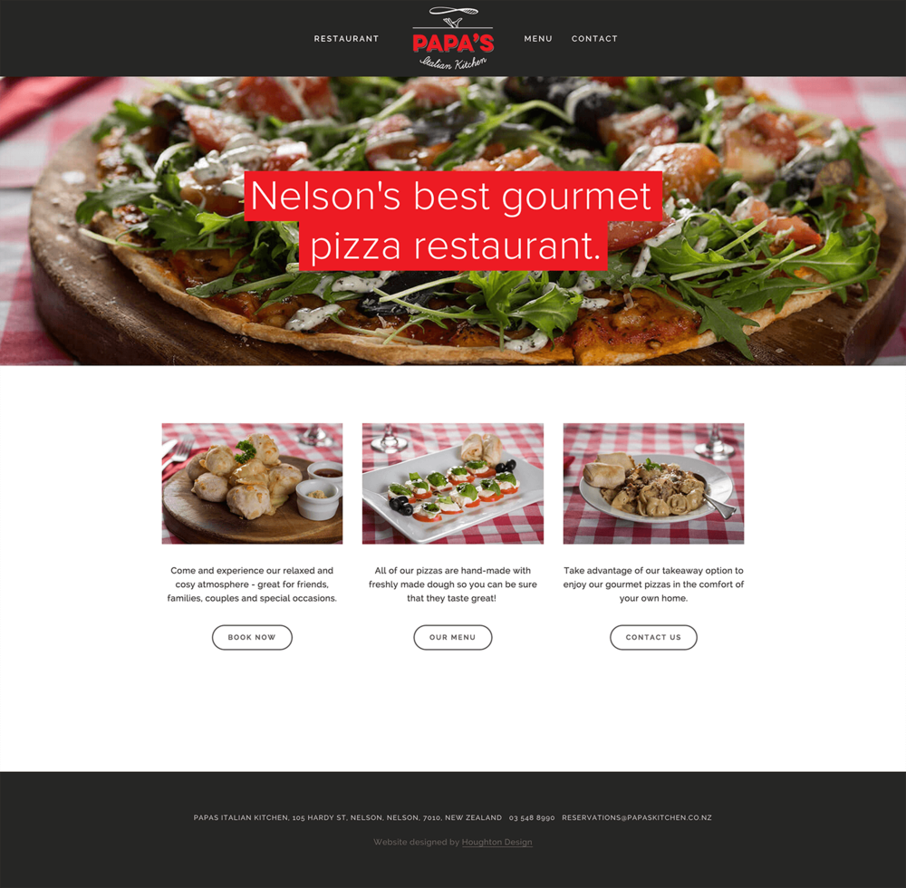 Squarespace website for Papas Italian Kitchen - www.papaskitchen.co.nz
